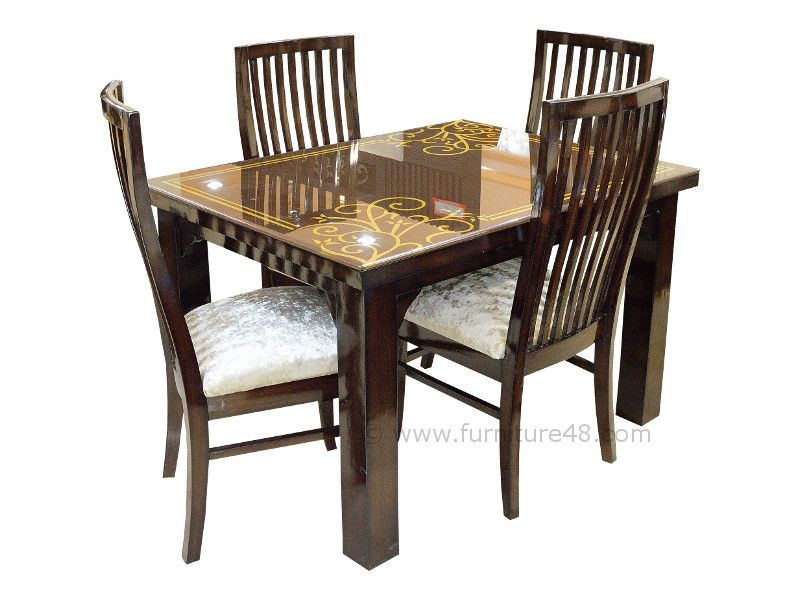 FABULOUS 4 Seater Dining Table Set With Lacquered Glass Top Available For  Sale At Furniture48