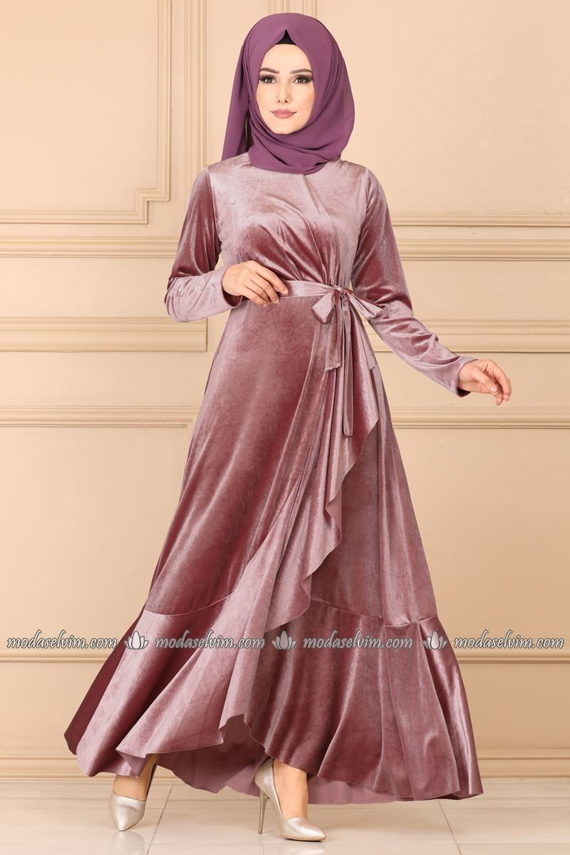 Moda Selvim Firfirli Kadife Tesettur Elbise 5052ef311 Gul Kurusu Moda Stilleri Elbise Elbise Modelleri