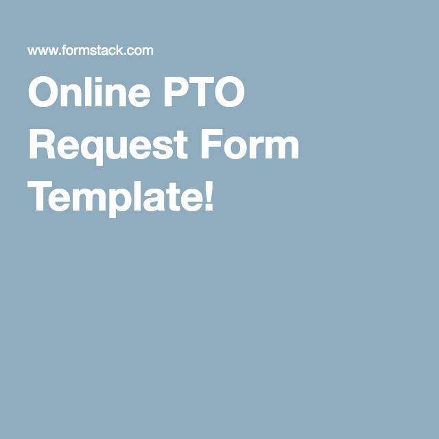 Online Pto Request Form Template  Human Resources