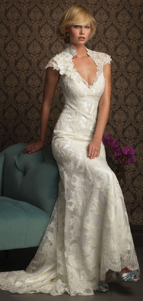 Lace Diamond Fall Cap Sleeves Keyhole Back Wedding Dress Weddingdress Dresses