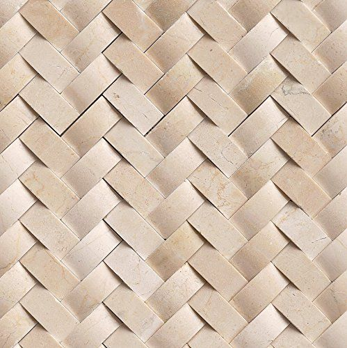 Crema Herringbone Polished Marble Mesh Mounted Mosaic Til