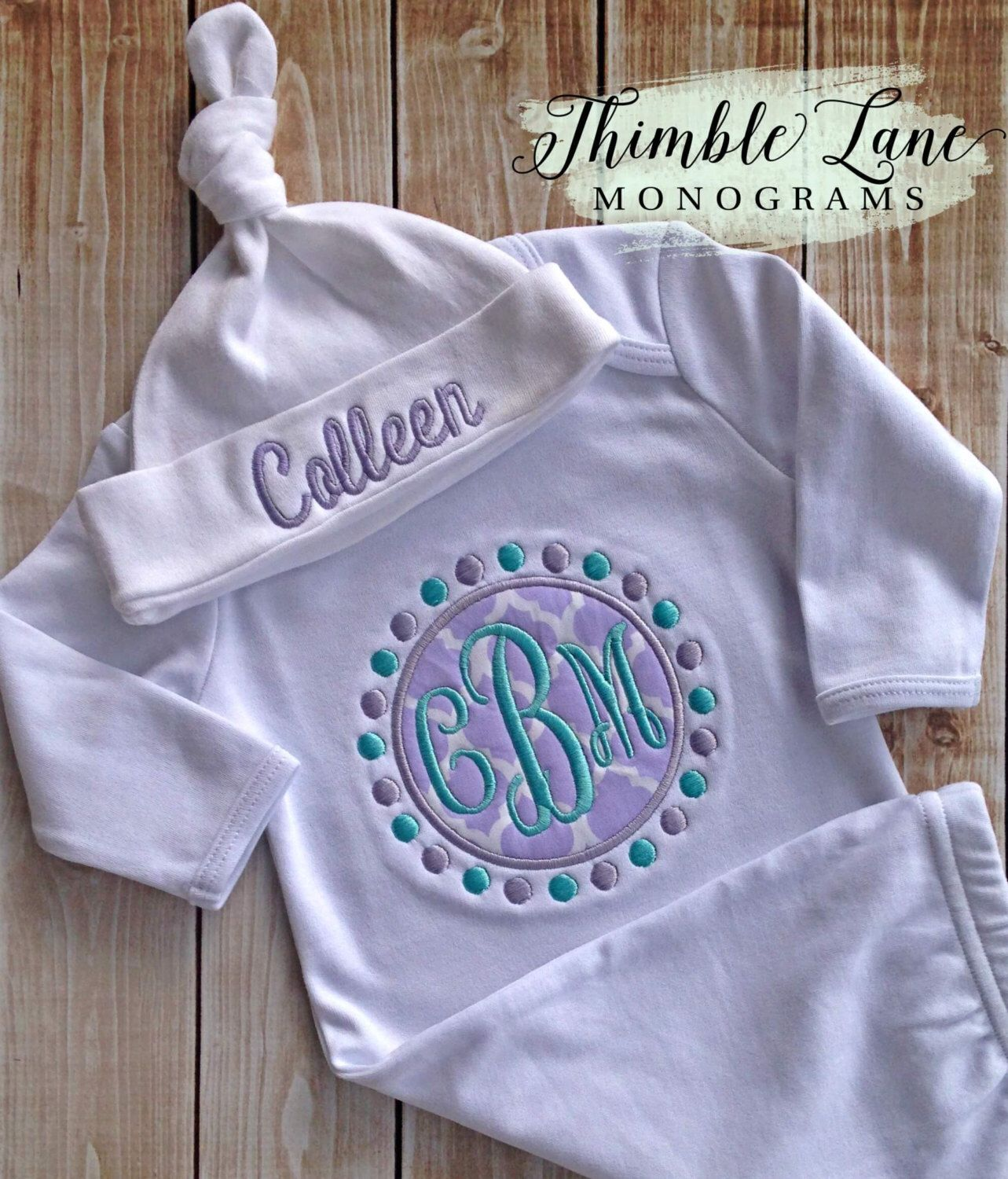 Take Home infant Girl-Newborn Girl-Monogrammed Infant Gown-Going ...