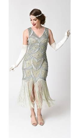 4b63feb2a7c Unique Vintage Silver   Seafoam Beaded Mesh Isadora Fringe Flapper Dress