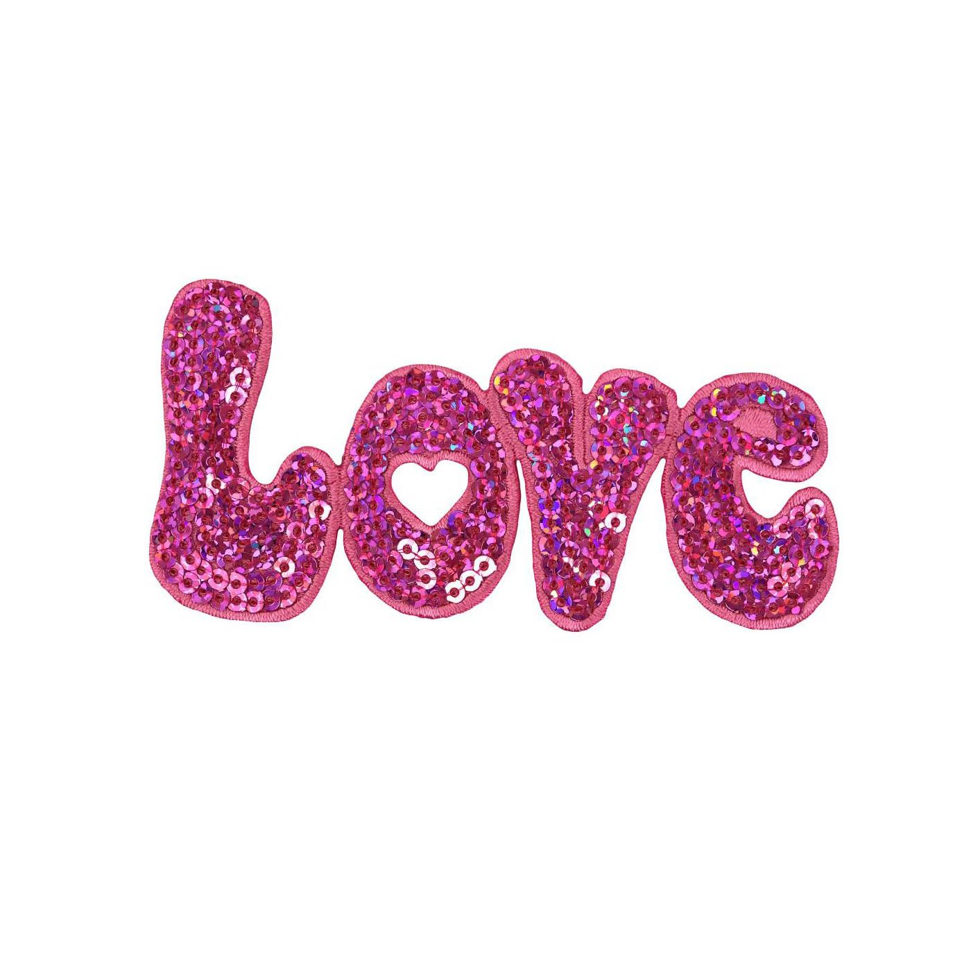 587a55e149eda Love Iron On Patch, Love in Pink Sequins Iron On Applique, Sequin ...