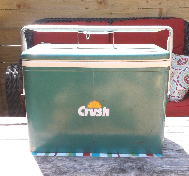 Orange Crush Green Metal Pic Nic Cooler Vintage 1960S With