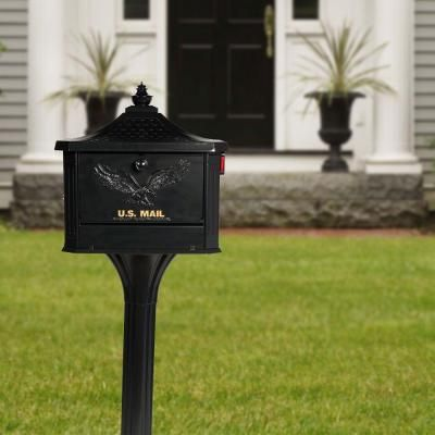 Gibraltar Mailboxes Pedestal All In One Large Aluminum Locking Mailbox Post Combo Black Ped0000b The Home Depot Gibraltar Mailboxes Steel Mailbox Mounted Mailbox
