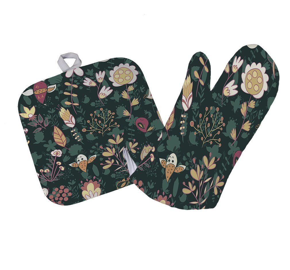 Amazon.com: Abstract Birds And Flowers Pattern Kitchen Bar Oven Mitt & Pot Holder Set: Kitchen & Dining