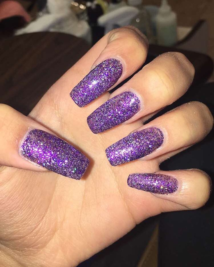 Lala On Instagram Alter Ego Is Back Purple Acrylic Nails Purple Glitter Nails Glitter Nails Acrylic