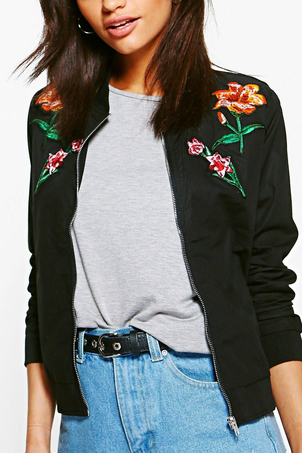 Harriet floral embroidered bomber boohoo floral and coats