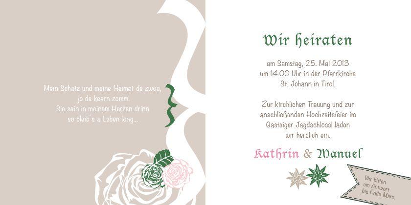 Hochzeitseinladung Im Trachten Design: Florale Elemente Und Edelweiß Machen  Diese Hochzeitskarte Perfekt