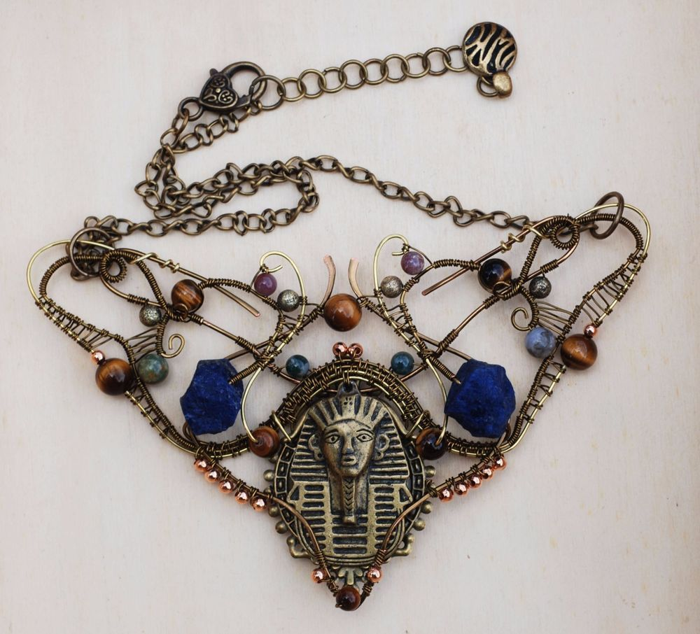 Egyptian King Tut Wire Wrap Assemblage Necklace Sodalite Tiger's Eye Bloodstone #Jeanninehandmade #Wrap