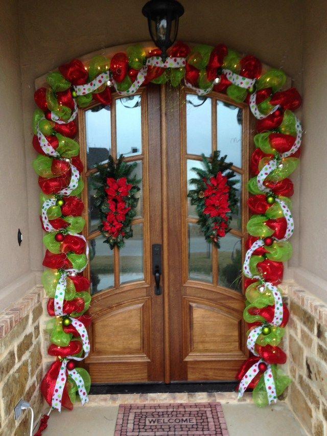 Decora la puerta de tu casa con guirnalda de malla decoraci n navide a decoraci n y navidad - Arreglos navidenos para la casa ...