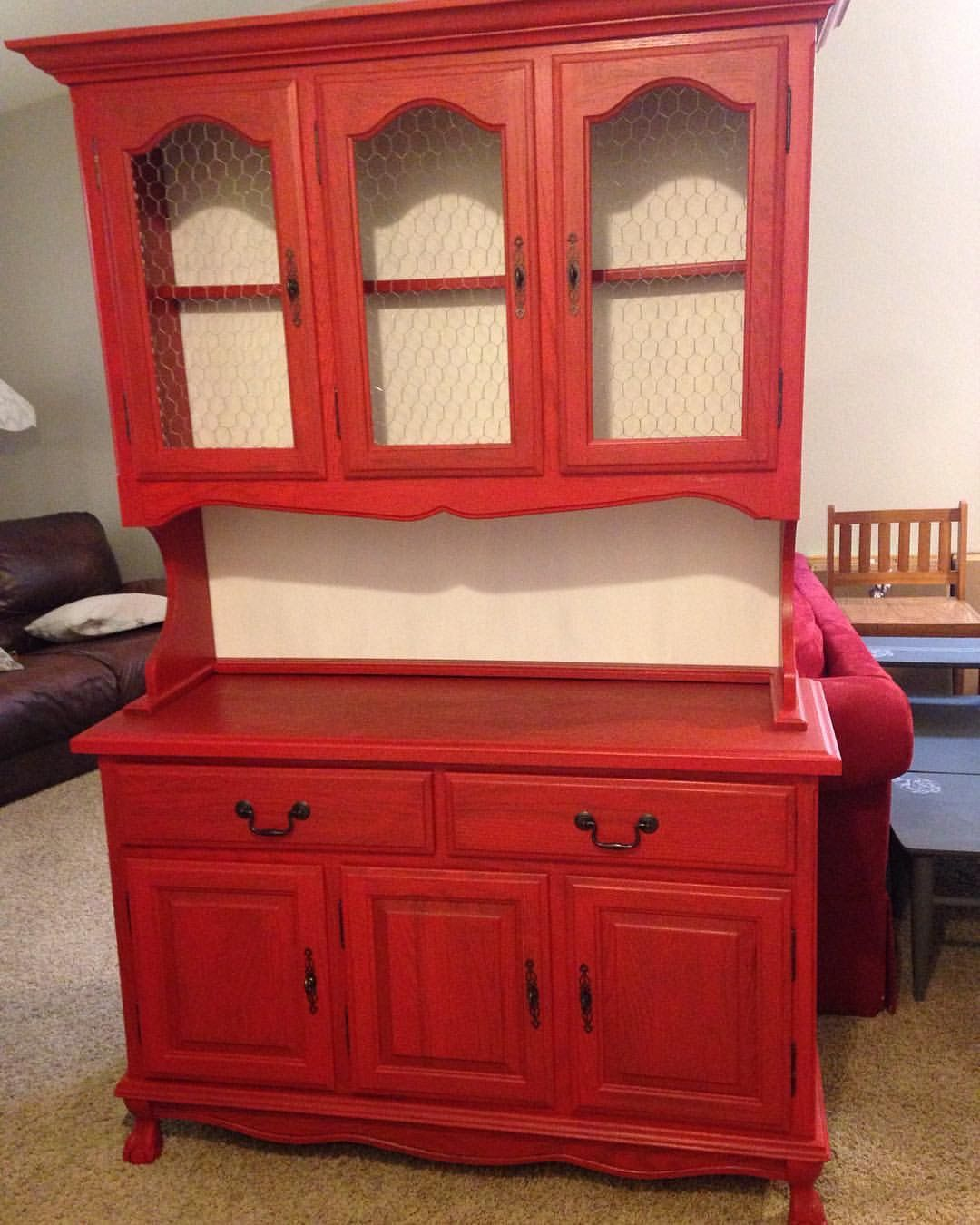 Red China hutch with chicken wire | Hidden Gems Furniture ...