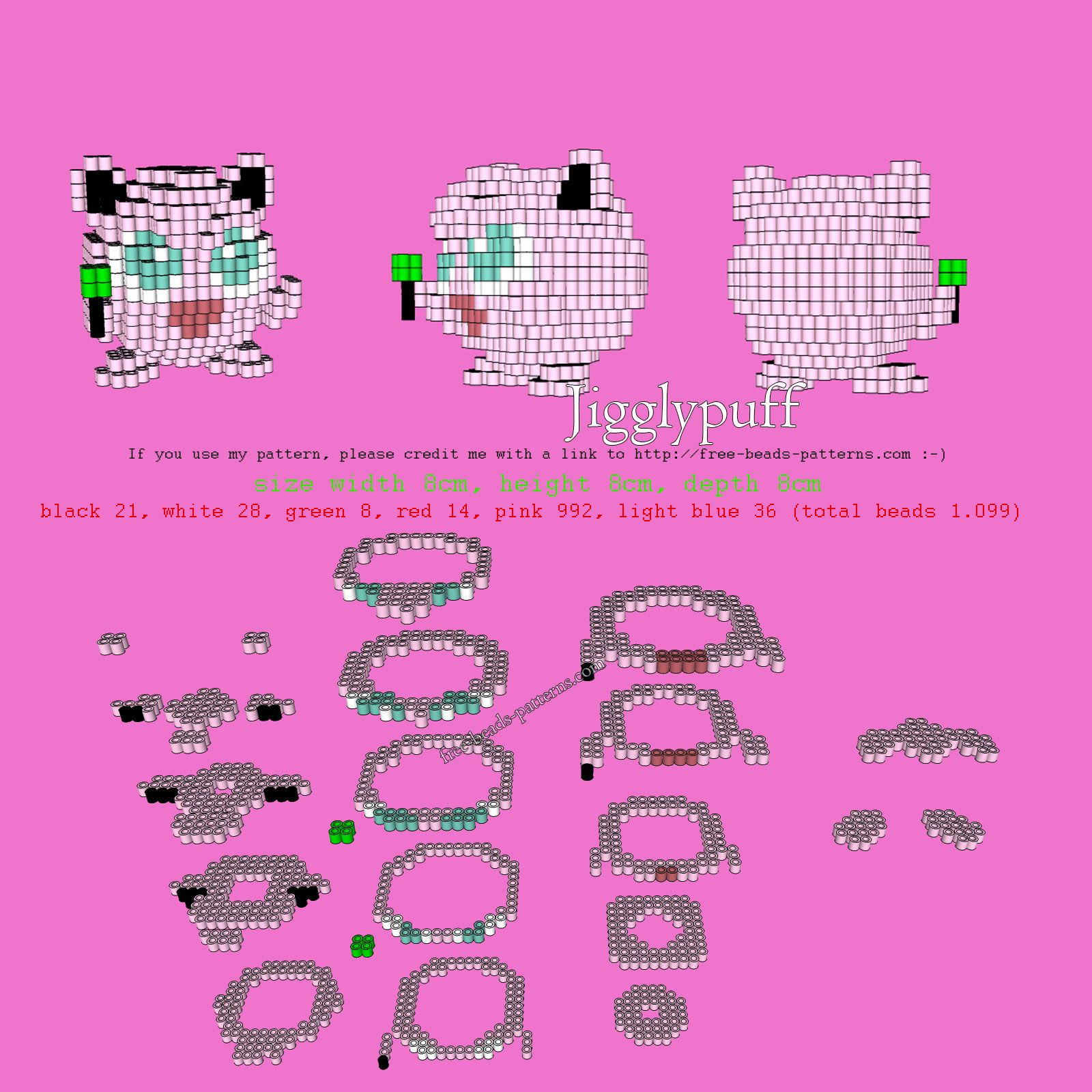 3D Pokemon Jigglypuff perler beads hama beads free pattern ... - photo#8