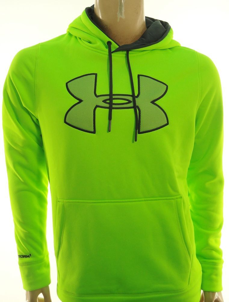 ac6b65bc UNDER ARMOUR NEW MENS NEON GREEN BIG LOGO STORM 1 COLD GEAR HOODIE ...