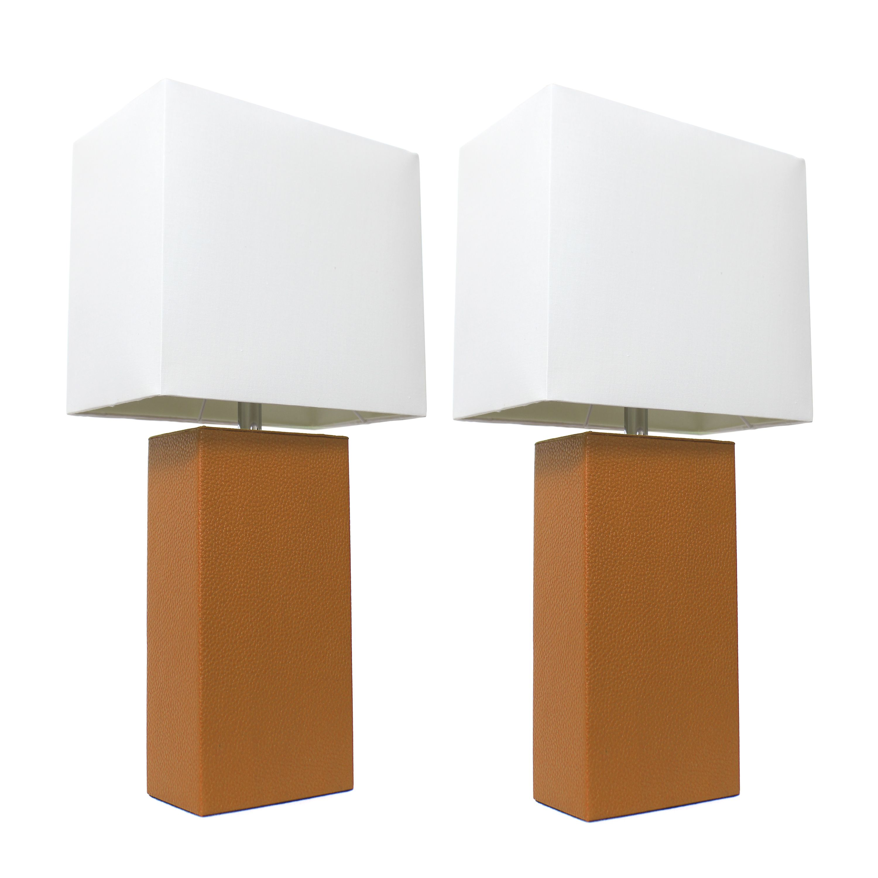 Elegant Designs 2 Pack Modern Leather Table Lamps With White