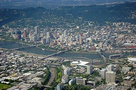 Aerial view of downtown Portland Oregon