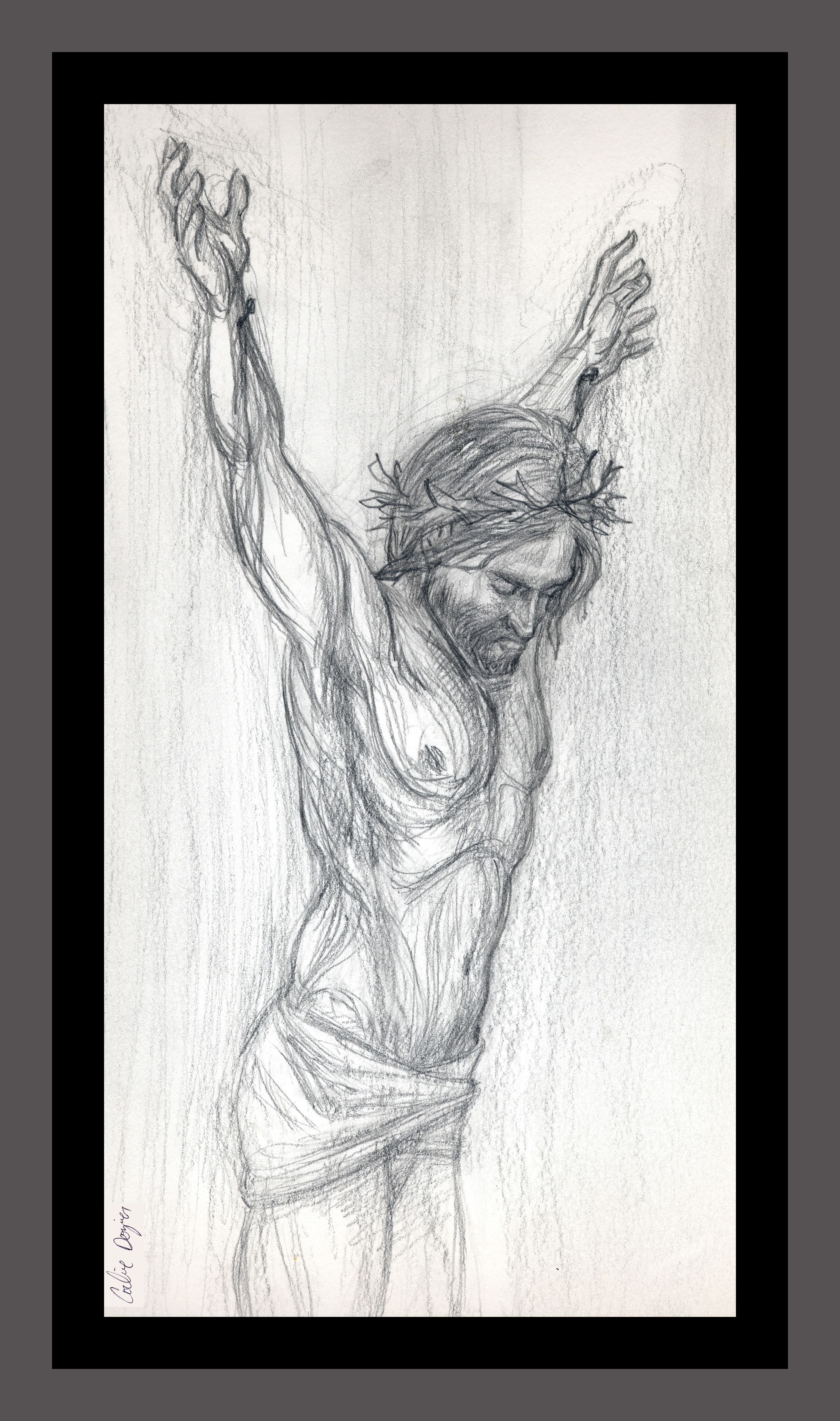 This is a pencil drawing of jesus on the cross the title is jesus sans cross sans is latin for without artwork by corbie eva crouse greeting cards
