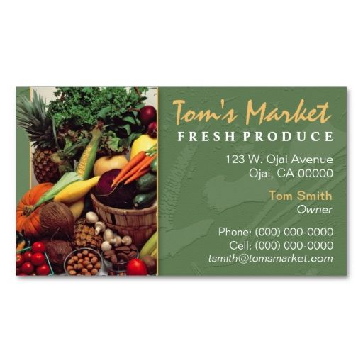 Produce Market Business Card Zazzle Com Produce Market Produce Business Cards