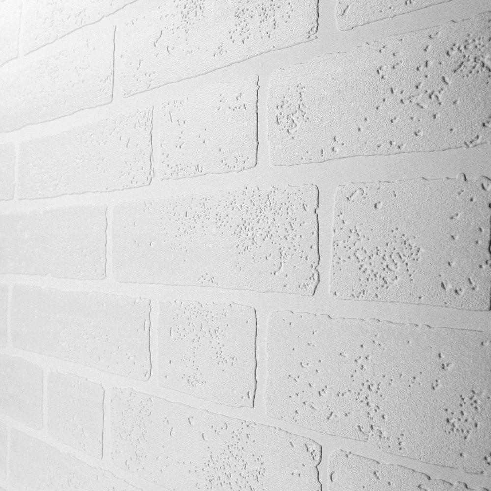 Paintable White Brick Wallpaper