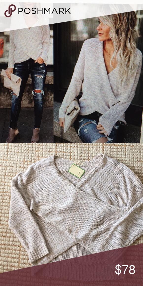 Overlap Surplice Sweater