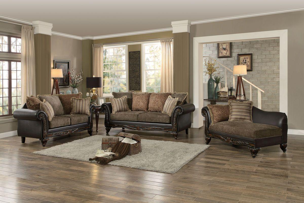 Thibodaux 3pcs Traditional Brown Print Fabric Vinyl Sofa Set Brown Living Room Living Room Sets Brown Living Room Decor