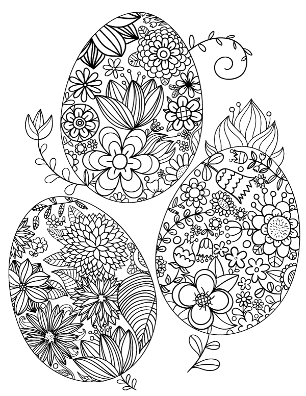 Free Easter Coloring Pages Pdf : Free printable floral easter egg adult coloring page