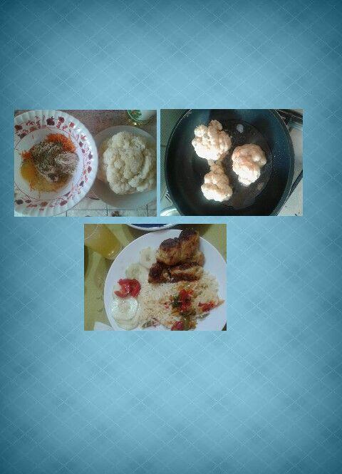 Fritos de coliflor con arroz y ensalada de pepino con pimentón rojo, exquisito!!!