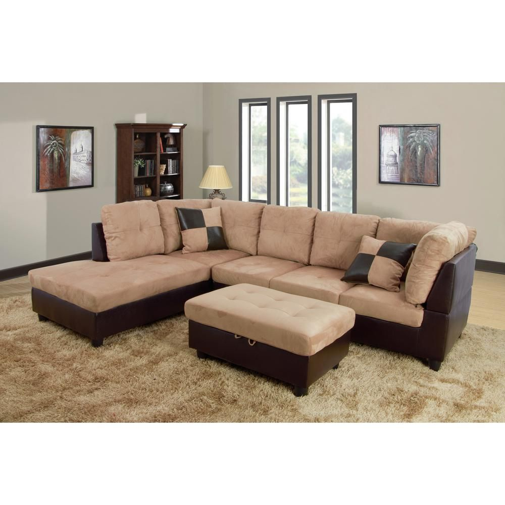 Faux Leather Left Chaise Sectional