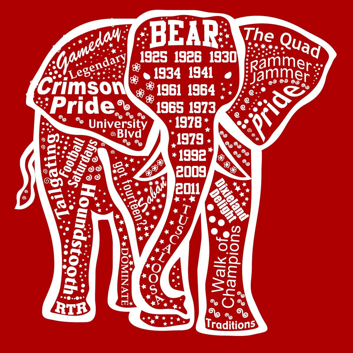 Alabama Elephant Outline Ss T Shirt Love