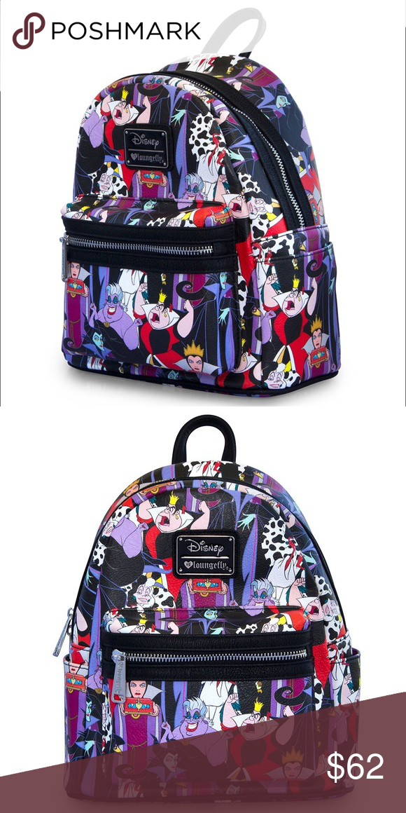 858a27e887b Disney Villains Mini Backpack NEW DISNEY PRINTED FAUX LEATHER MINI  BACKPACK. WITH EXTERIOR SIDE POCKETS. MEASUREMENTS  W  9