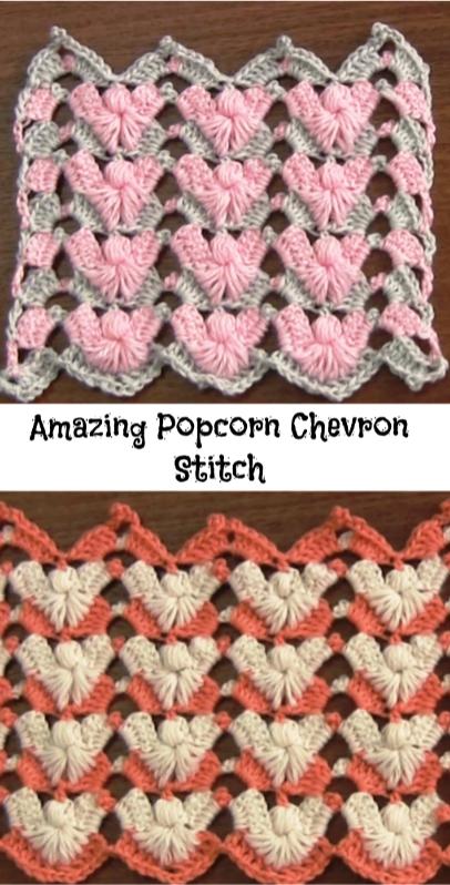 Amazing Popcorn Chevron Stitch | Crochet Me | Pinterest | Puntadas ...