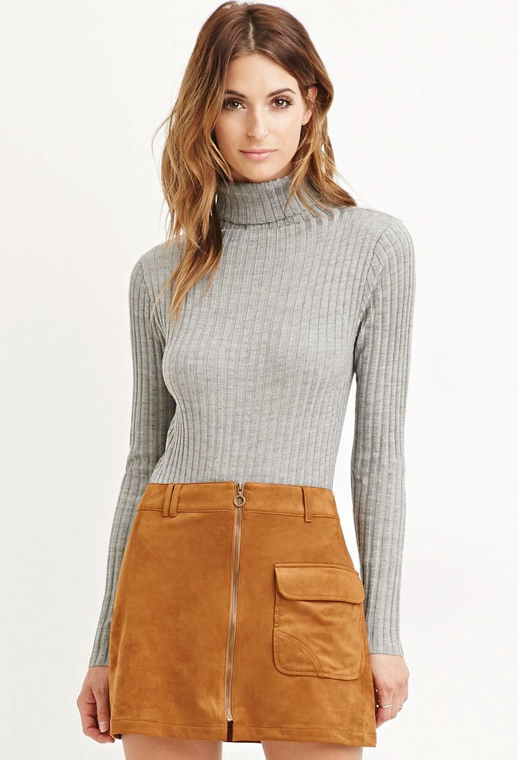 Contemporary Ribbed Knit Turtleneck Sweater - Sweatshirts & Knits ...