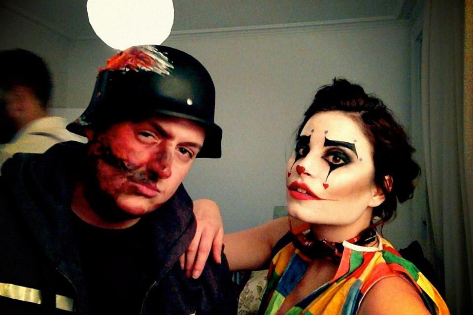 Halloween make up 2014. Motor bike accident and a clown