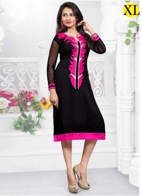 Black Georgette Embroidery Designer Kurti  M2