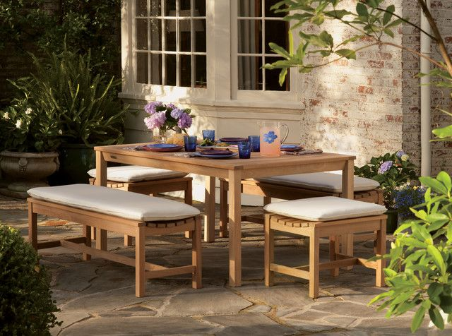 Backless Bench Dining Set Traditional Outdoor Benches ...