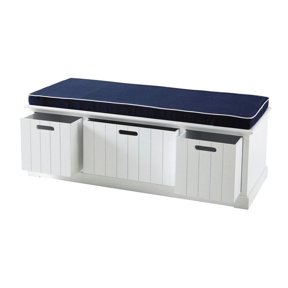 Banco de almacenaje de madera blanco An. 130 cm | Pinterest | Bancos ...