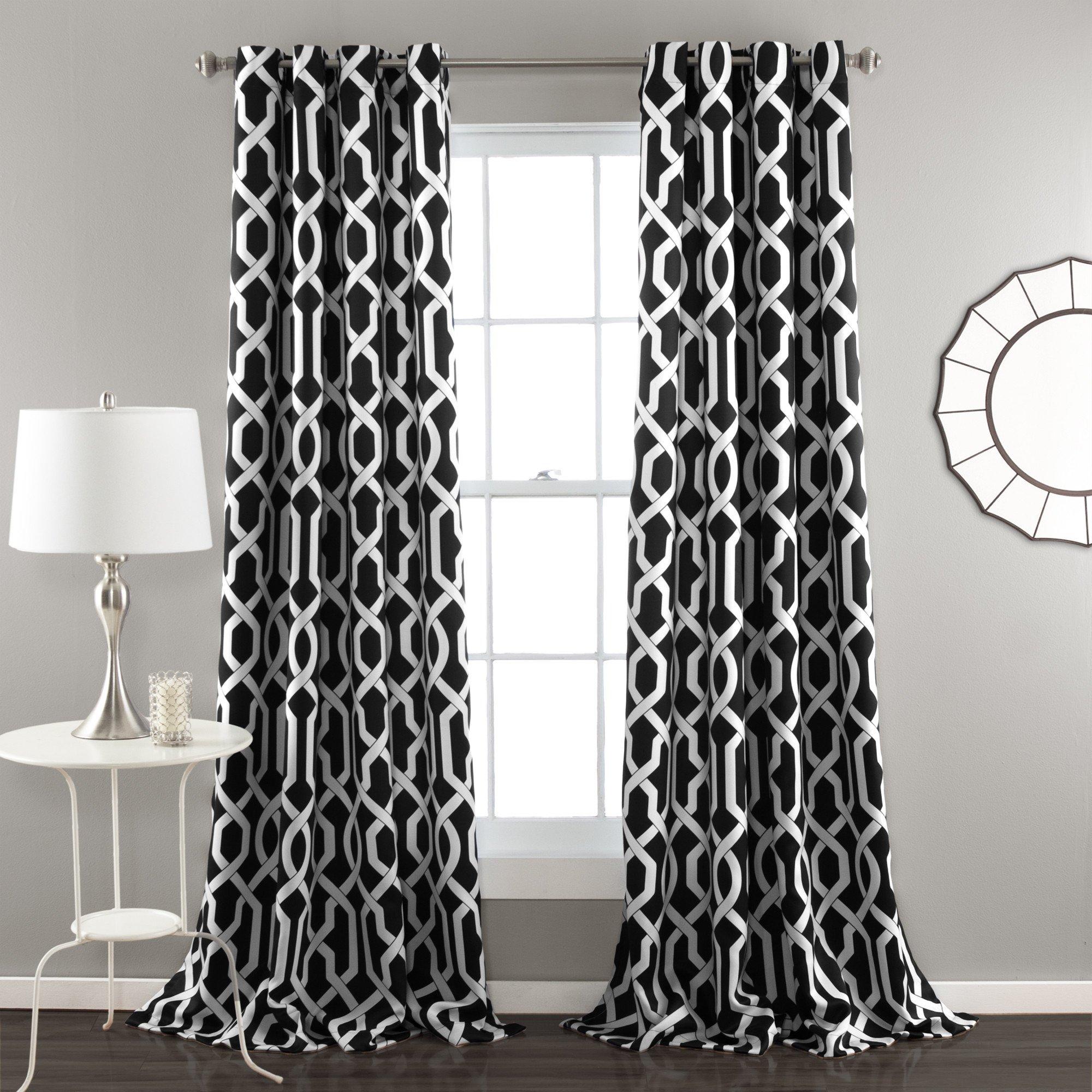 Edward Trellis Room Darkening Window Curtain Panel Set Rideaux Noirs Decoration Deco Rideau
