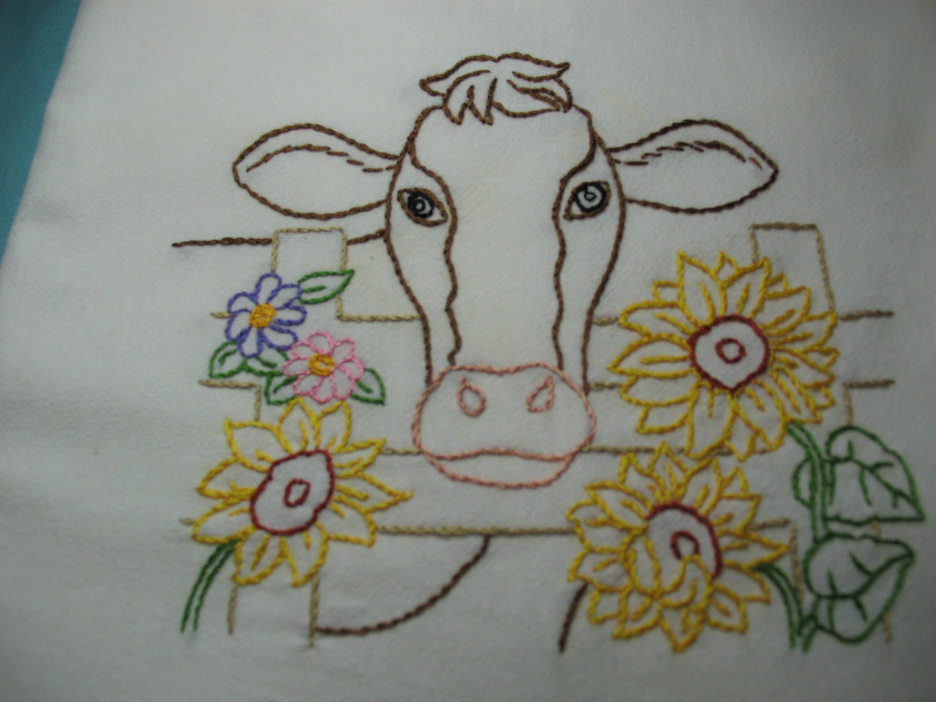 Cow In A Field With Sunflowers Aunt Martha 4021 Life On The Farm