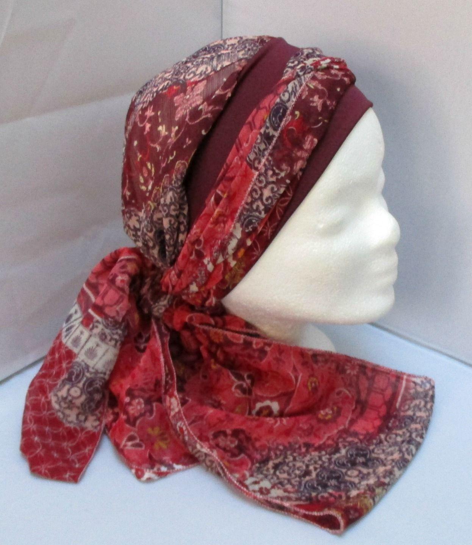 Turban à nouer préformé - Foulard - Bonnet - chapeau - bandeau chimio en  camaïeu de 457a3be9fe1
