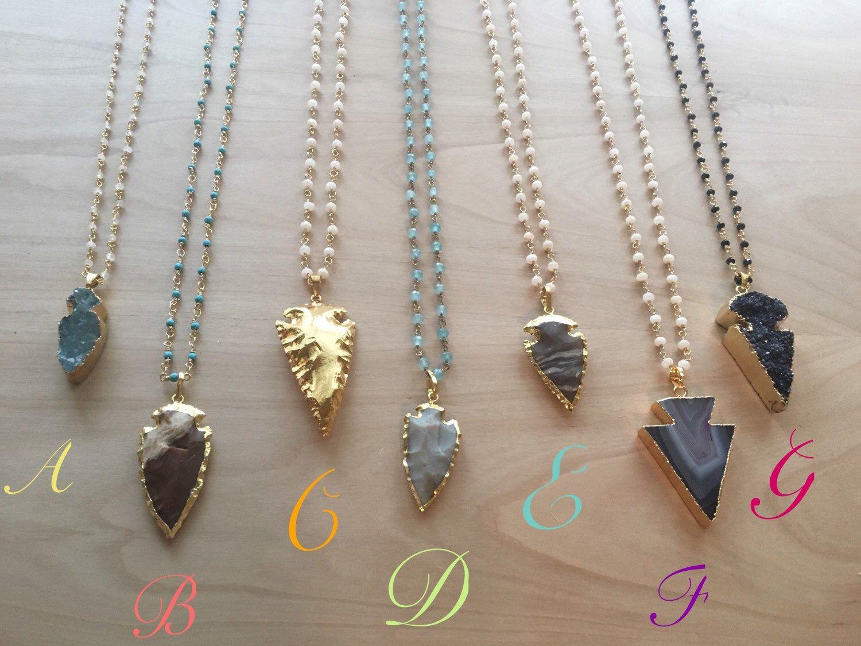 Long Beaded Arrow Necklace , arrow head necklace , druzy arrow necklace,  Long Druzy Necklace | by KatherineRoseDesign on Etsy https://www.etsy.com/listing/264561864/long-beaded-arrow-necklace-arrow-head
