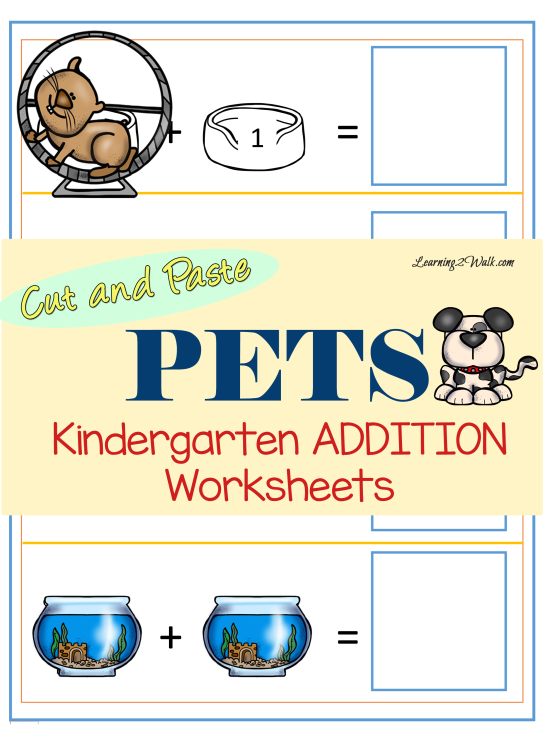 Pets Kindergarten Addition Worksheets | Kindergarten addition ...