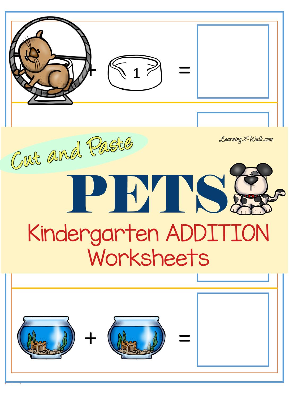 Pets Kindergarten Addition Worksheets