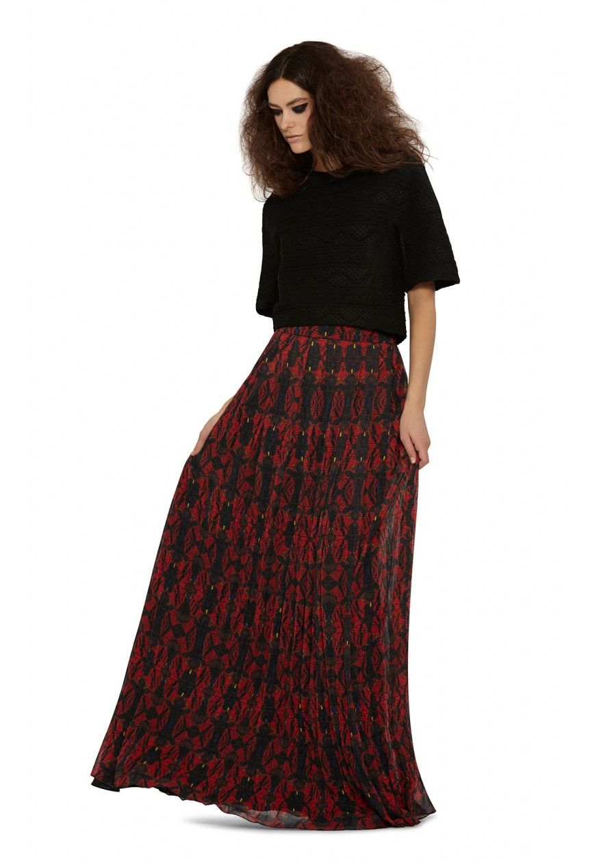 08ebbb9120 CAPRICE WIDE WAIST BAND PLEATED MAXI SKIRT in ROMANTIC BUTTERFLY by Alice +  Olivia