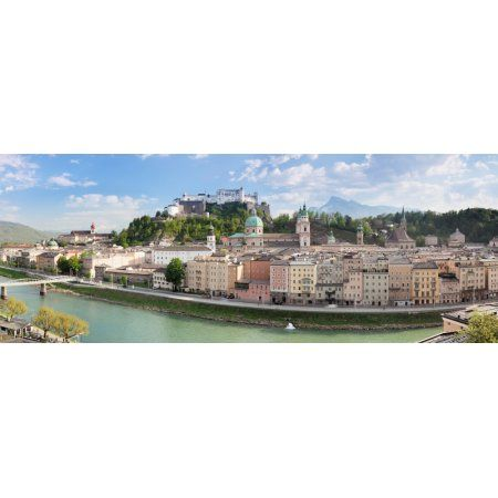 Old town with Hohensalzburg Castle Dom Cathedral and Salzburg Residenz Salzburg Salzburger Land Austria Canvas Art - Panoramic Images (36 x 12)