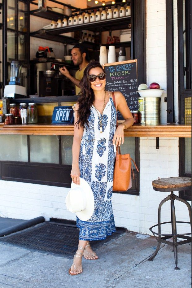 With Love From Kat // A Fashion, Beauty, and Travel Blog by Kat Tanita. Printed maxi dress+silver lace up sandals+brown bucket bag+white hat. Summer outfit 2016