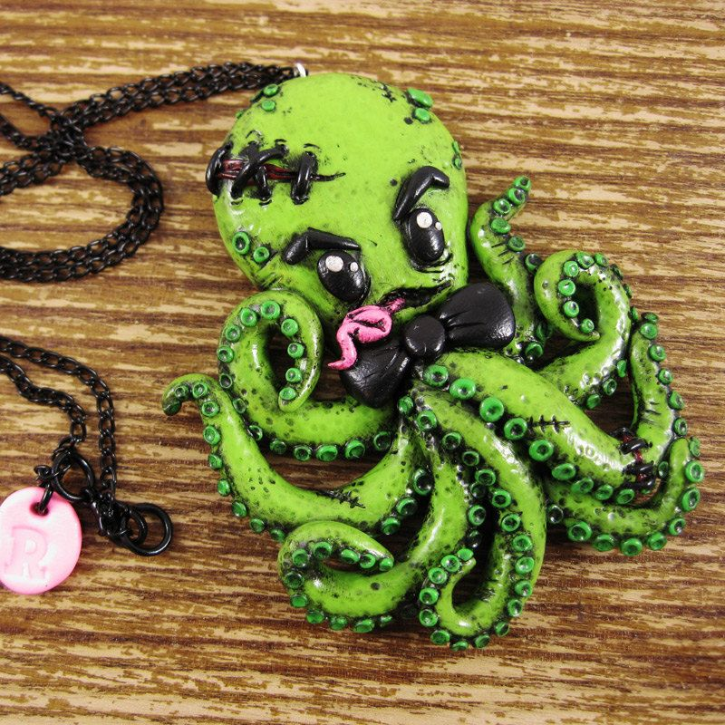 Zombie Octopus Polymer Clay Necklace. $36.00, via Etsy.