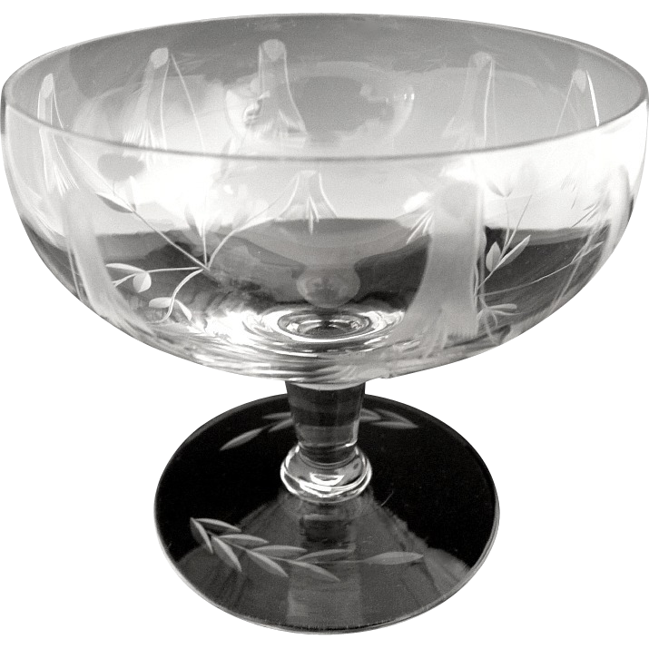 Elegant cut glass champagne glasses sherbets from Victoria's Curio on Ruby Lane