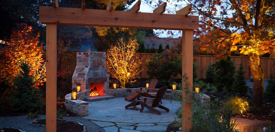 Outdoor Fall Decorations | Fall Patio Pictures: Autumn, Fall, Colors, Patios - Bombay Outdoors | Small backyard landscaping, Backyard, Small backyard