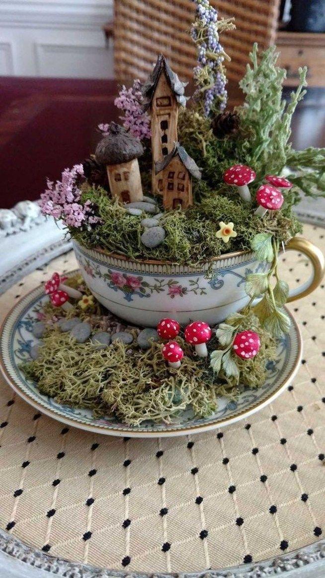 Simple Diy Tea Cup Ideas For Fairy Garden19 Jardín de
